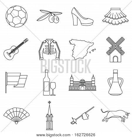 Spain travel icons set. Outline illustration of 16 Spain travel vector icons for web