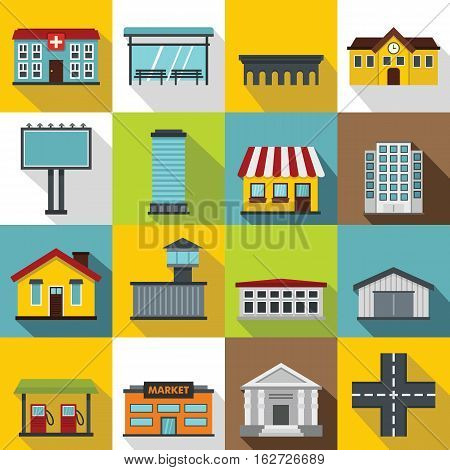 City infrastructure items icons set. Flat illustration of 16 city infrastructure items vector icons for web