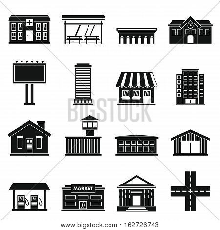 City infrastructure items icons set. Simple illustration of 16 city infrastructure items vector icons for web