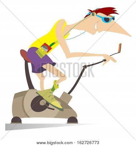 Cartoon smiling man trains on exercise bike