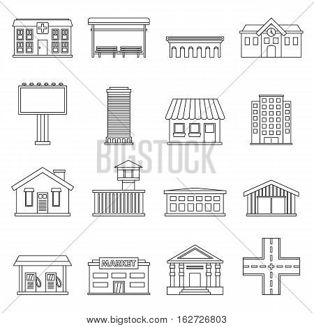 City infrastructure items icons set. Outline illustration of 16 city infrastructure items vector icons for web