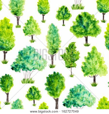 Seamless pattern with watercolor green trees and grass. Nature background