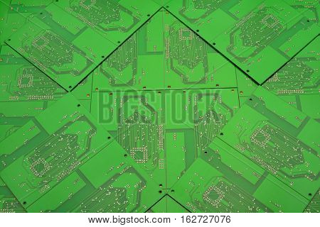 green background of printed circuit boards. rear of the printed circuit board