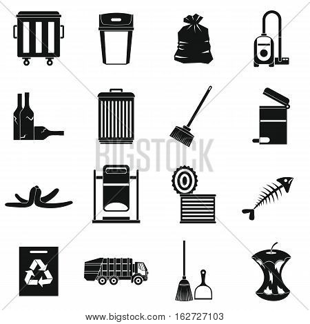 Garbage thing icons set. Simple illustration of 16 garbage thing vector icons for web