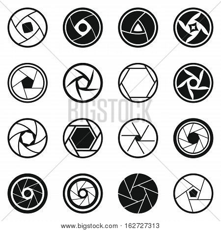 Photo diaphragm set. Simple illustration of 16 photo diaphragm vector icons for web