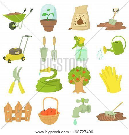 Gardener tools set. Cartoon illustration of 16 gardener tools vector icons for web