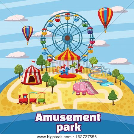 Amusement park concept. Cartoon illustration of amusement park vector concept for web