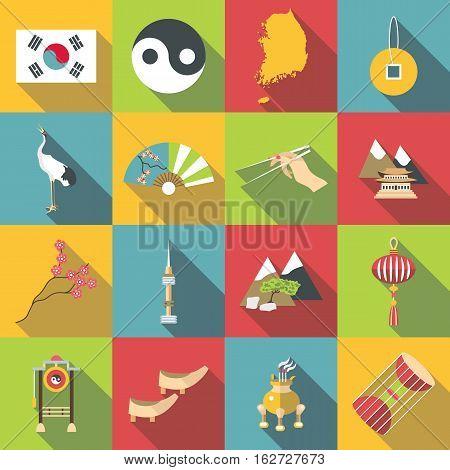 South Korea travel icons set. Flat illustration of 16 South Korea travel vector icons for web