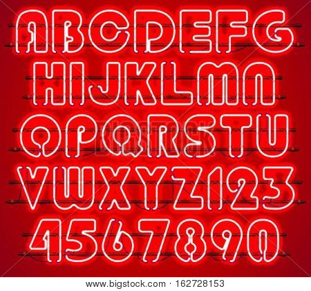 Glowing Red Neon Alphabet with letters from A to Z and digits from 0 to 9 with wires tubes brackets and holders. Shining and glowing neon effect. Every letter or digit is separate unit .