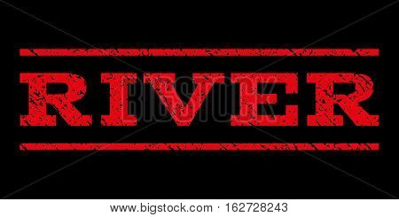 River watermark stamp. Text caption between horizontal parallel lines with grunge design style. Rubber seal stamp with dirty texture. Vector red color ink imprint on a black background.