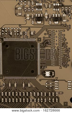 Detail of the electronic mother board - toned image