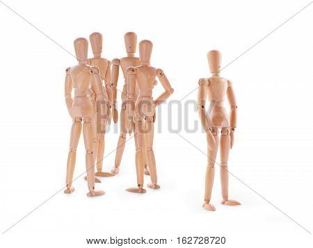Wooden characters scene on white. Group to discuss anything behind the outstanding character. Rumors intrigues neglect ignorance and socialization problems concept