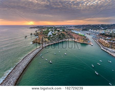 Aerial. Port harbor of the marina Albufeira view from the air. Portugal