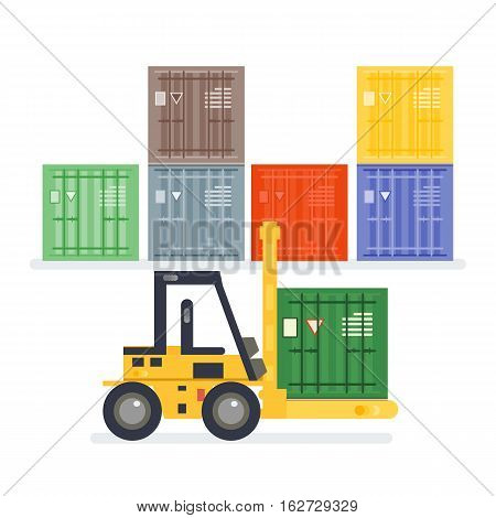 Logistics Warehouse With Loading Truck And Working Forklift.
