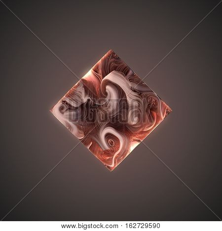 Abstract pink lines interweaving in the form of cube. 3D rendering
