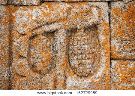 Architectural Details Of Bas-reliefs On Wall Of The Gergeti Trinity Church. Tsminda Sameba - Holy Trinity Church Near Village Of Gergeti Near Kazbegi In Georgia