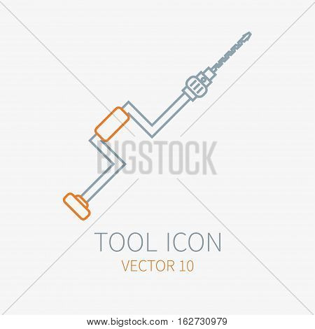 Line working color hand drill for construction, building and home repair icon. Vector illustration for design. Hand work tool. Industrial cartoon style. Simple. Pictogram. Service. Equipment. Item.