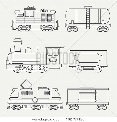 Line modern and vintage trains with cargo wagons and tank icons set. Steam, diesel, electric locomotives. Vector. Cartoon style. Illustration and element for your design. Railway. Wagon. Retro.