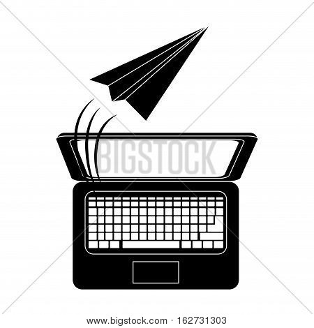 paper plane message and computer  icon image vector illustration design