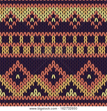 Seamless Knitted Pattern In Warm Shades.