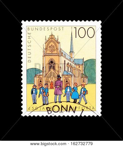 GERMANY - CIRCA 1993 : Cancelled postage stamp printed by Germany, that shows Pforta school.