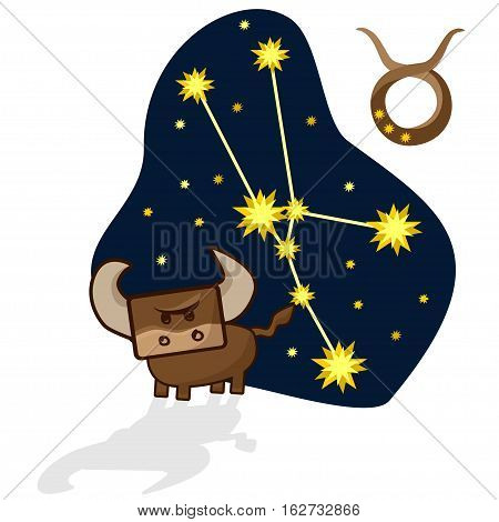 Cartoon Zodiac signs. Vector illustration of the Taurus with a rectangular face. A schematic arrangement of stars in the constellation Taurus