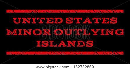 United States Minor Outlying Islands watermark stamp. Text tag between horizontal parallel lines with grunge design style. Rubber seal stamp with unclean texture.
