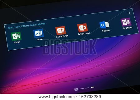 Krynica Poland - December 19 2016 - Microsoft Office Application on Android Tablet. Microsoft Office is an office suite of applications servers and services developed by Microsoft Corporation.