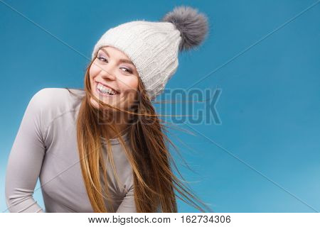 Woman In Thermal Underwear Wool Cap