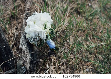 beautiful bridal bouquet of white flowers on the grass