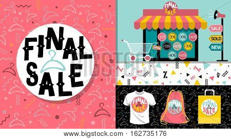 Final Sale. Flat design sale website banner template. 80's, 90's style bright colorful vector for social media, posters, email, print, ads, promotional material. Yellow Pink Blue black and white