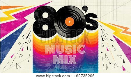 80's music mix. Vintage retro party. Fashion, graphic background style. Disco party 1980, dance night night. Radio popular playlist. Easy editable for Your design.