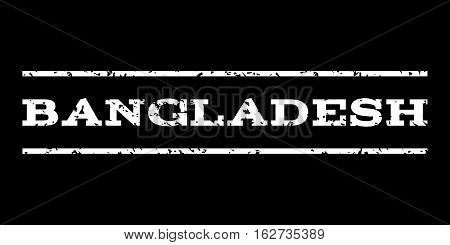 Bangladesh watermark stamp. Text caption between horizontal parallel lines with grunge design style. Rubber seal stamp with scratched texture. Vector white color ink imprint on a black background.