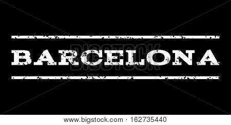 Barcelona watermark stamp. Text tag between horizontal parallel lines with grunge design style. Rubber seal stamp with dirty texture. Vector white color ink imprint on a black background.