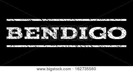 Bendigo watermark stamp. Text tag between horizontal parallel lines with grunge design style. Rubber seal stamp with dirty texture. Vector white color ink imprint on a black background.