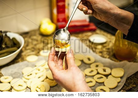 home made christmas cookies  with homemade marmelade