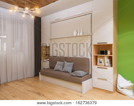 3d illustration of interior design living room with bed wardrobe. Interior is made in modern minimalist style