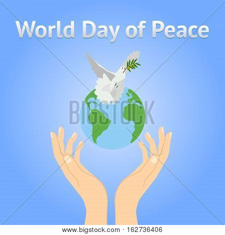 Peace Dove With Olive Branch For International  Day Poster