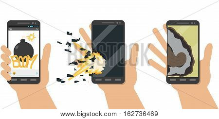 Explosion phone. Battery explosion. Terrorists using virus programs did overload in battery, and it exploded. Vector illustration