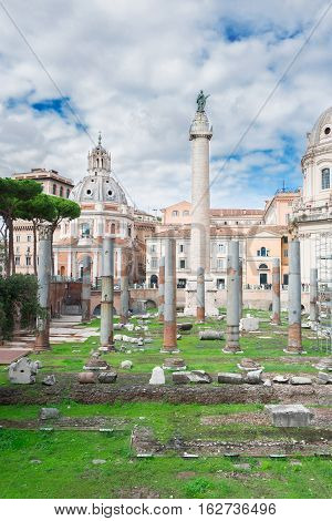 Forum - Roman ruins with column of Trajan in Rome, Italy