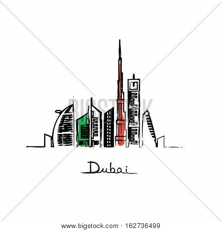 Dubai cityscape with skyscrapers and landmarks flag colors vector illustration