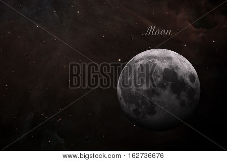 Solar System - Earths Moon. The Moon is Earth's only natural satellite. It is one of the largest natural satellites in the Solar System. Elements of this image furnished by NASA.