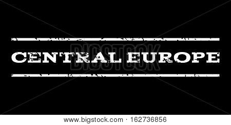 Central Europe watermark stamp. Text caption between horizontal parallel lines with grunge design style. Rubber seal stamp with scratched texture. Vector white color ink imprint on a black background.