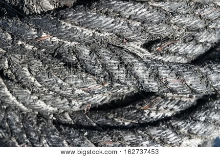 Close up of old boat rope, background