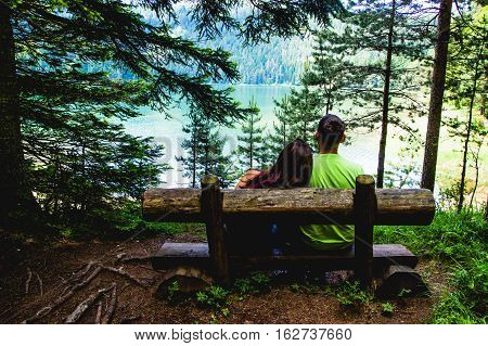 Lovely Couple on a Wooden Pew in Durmitor Park