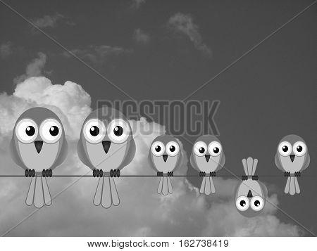 Monochrome large comical bird family against a cloudy sky