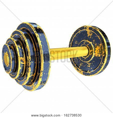 Golden Dumbbell with Old Scratched Black Paint. Clipping Path. Isolated on White. 3D Illustration.