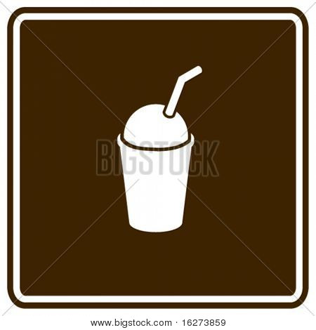 ice cold coffee beverage with drinking straw sign