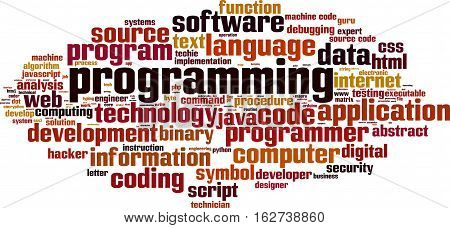 Programming word cloud concept. Vector illustration on white