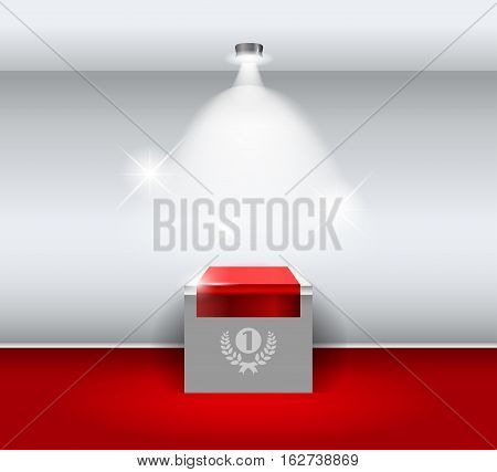 3d Empty white stand for your exhibit with red carpet. Vector illustration.